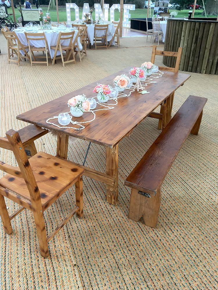 Rustic Tables & Benches for Tipi Hire