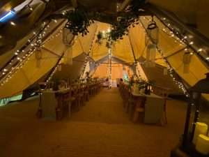 Inside a winter wedding tipi