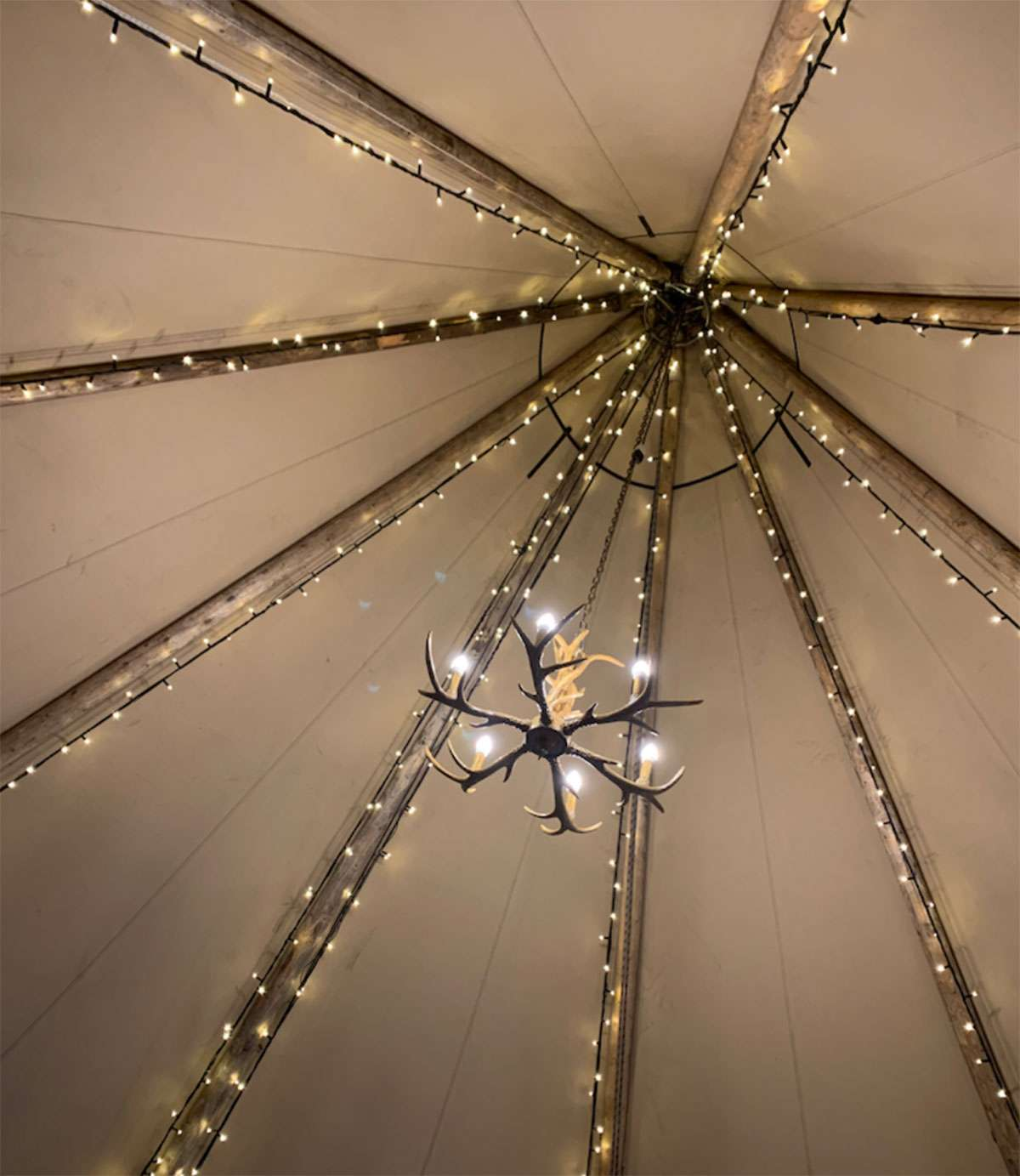 chandelier hung from tipi