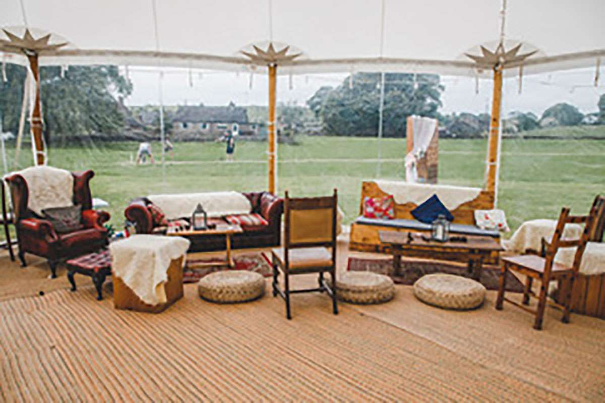 chill out furniture in sailcloth tent