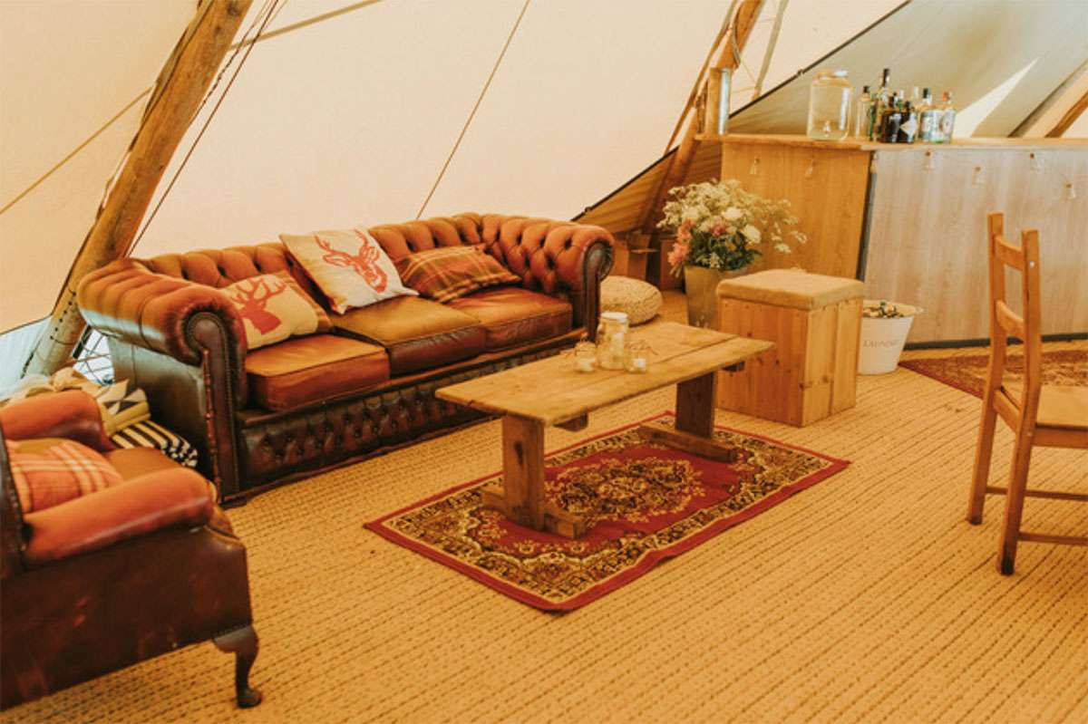 chill out furniture inside tipi