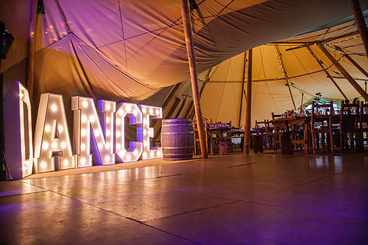 dance letters next to dance floor