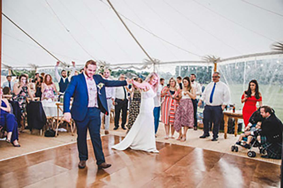 first dance for married couple on dance floor
