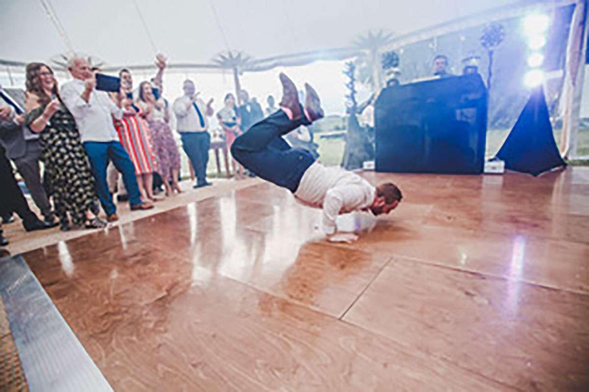 breakdancing on the dance floor