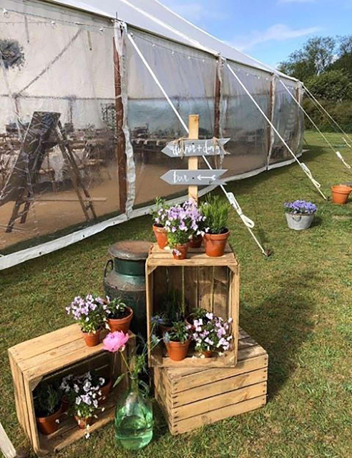 Decor outside sailcloth tent
