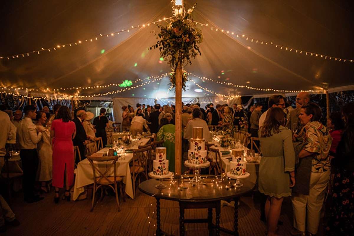 fairy lights inside sailcloth tent