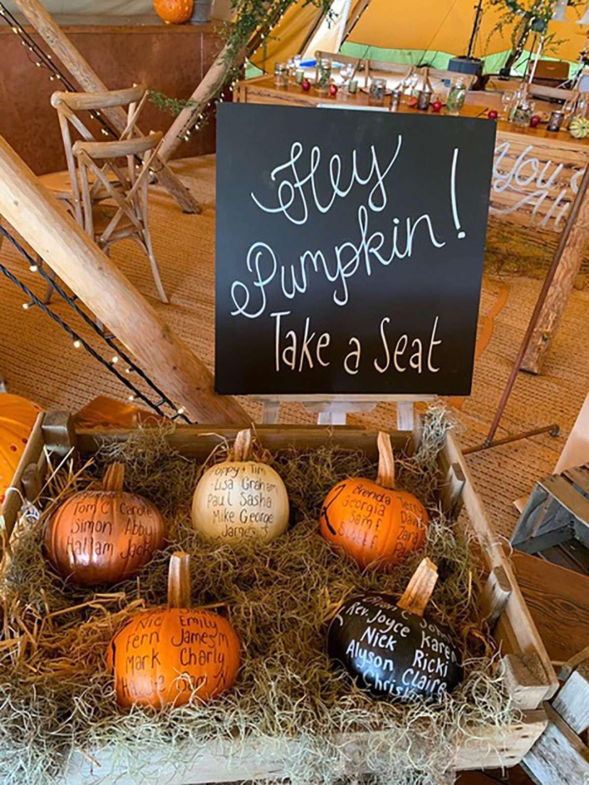 pumpkin display in tipi