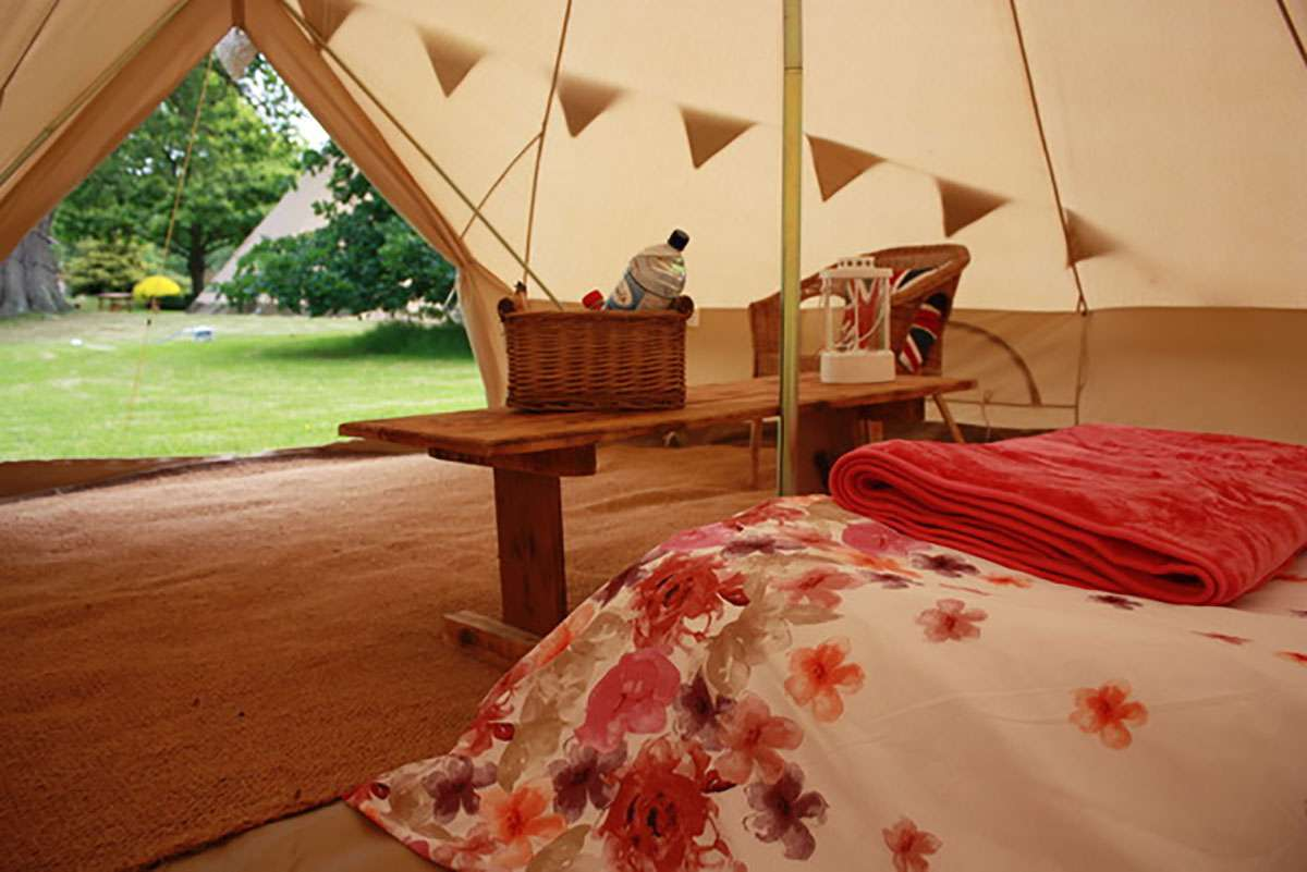 the view from a glamping tent bed
