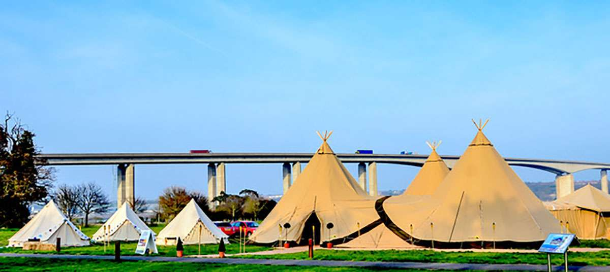 glamping tents and tipis next to orwell bridge
