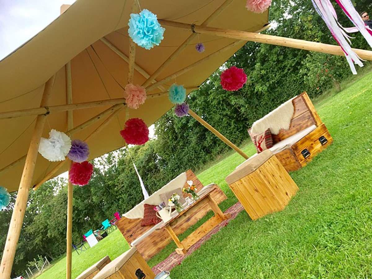 nimbus tent with hanging decorations