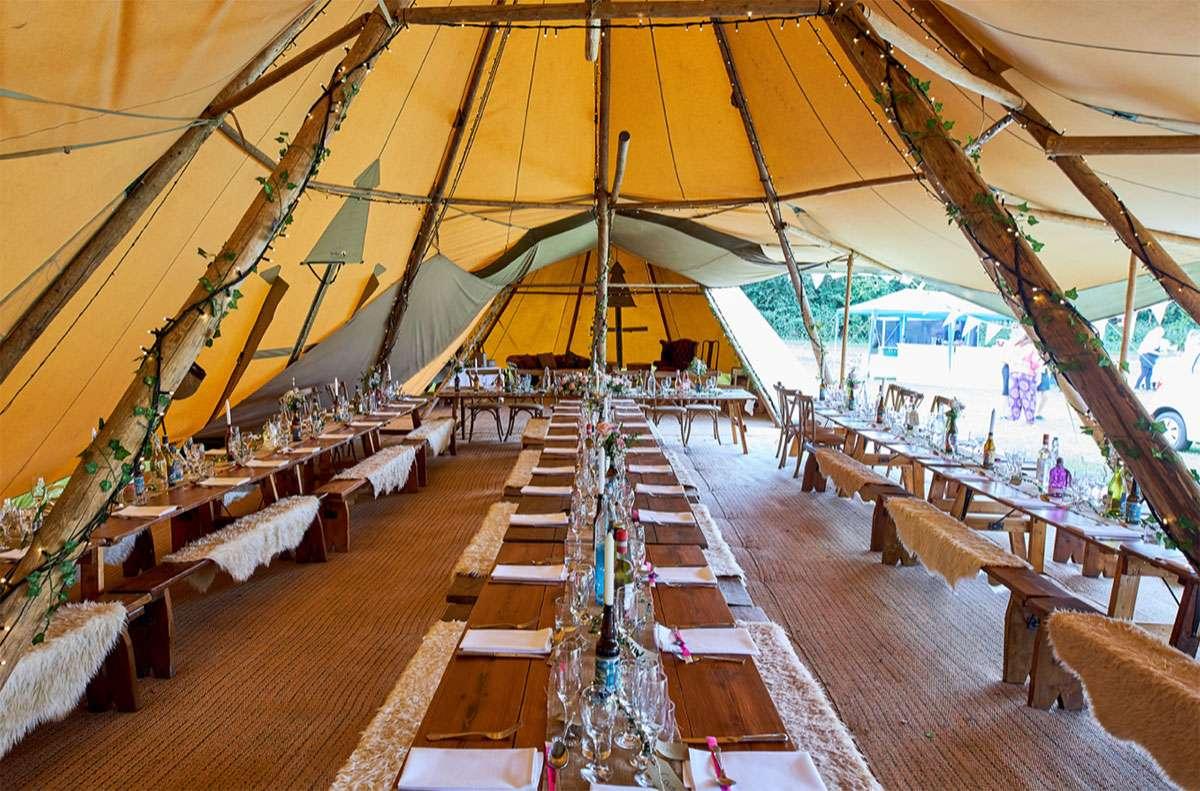 Long table inside tipi