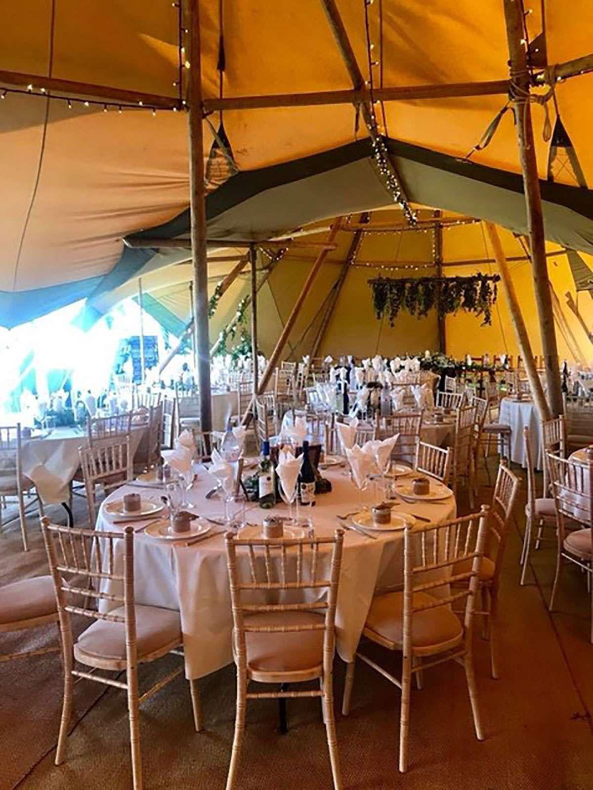round tables inside tipi