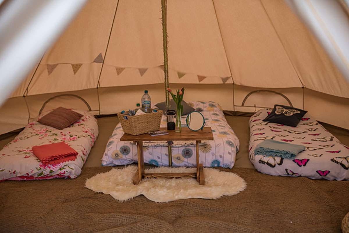 three bed glamping tent