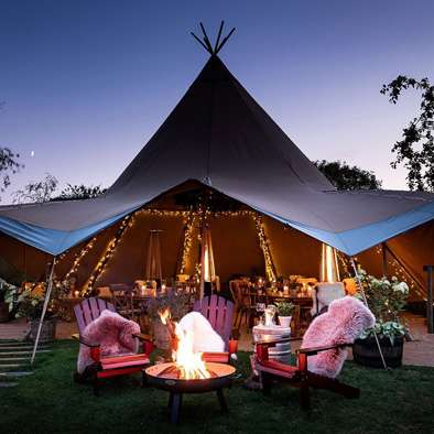tipi hire with lights